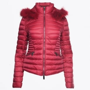 - Short Fur Trimmed Puffa Jacket - Framboise