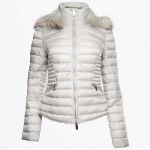 - Short Fur Trimmed Puffa Jacket - Perle