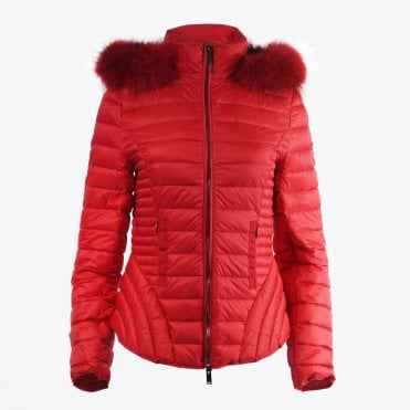 - Short Fur Trimmed Puffa - Rouge
