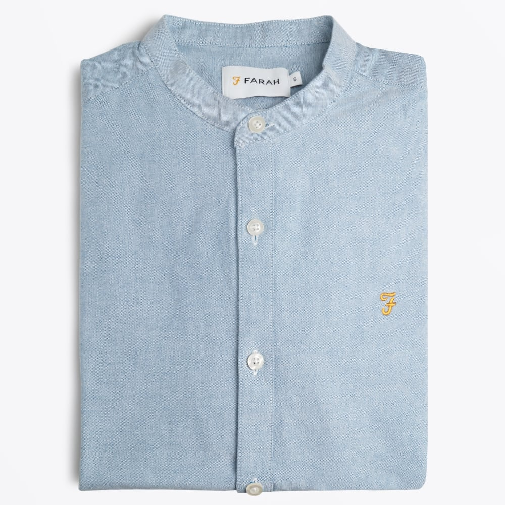 Brewer Grandad Oxford Shirt - Blue 64044a5c5