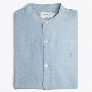 | Brewer Grandad Oxford Shirt - Blue