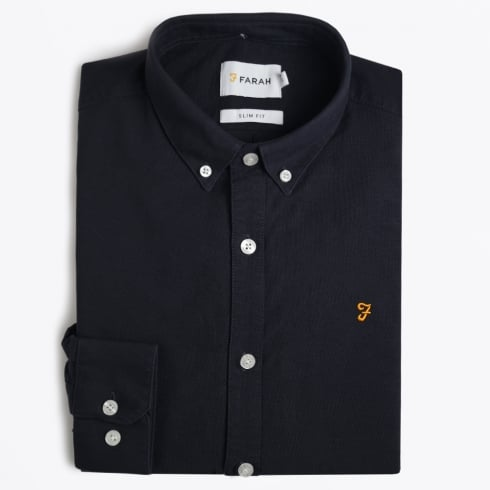 Farah Vintage - Brewer Slim Fit Oxford Shirt - Navy