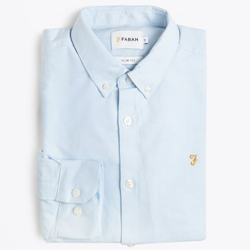 Farah Vintage - Brewer Slim Fit Oxford Shirt - Sky Blue