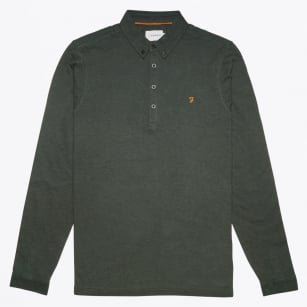 - Heathsan Long Sleeve Polo - Cilantro Marl