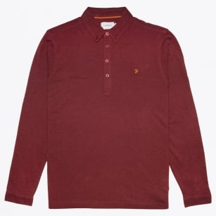 - Merriweather Long Sleeve Polo - Red Marl