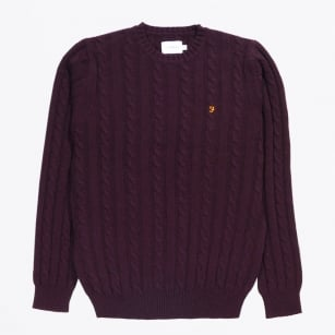 - Norfolk Cable Crew Jumper - Bordeaux
