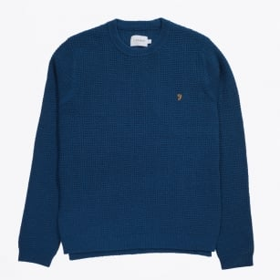 | Oldham Cable Waffle Crew Jumper - Poseidon