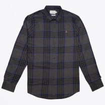 - Port Slim Check Shirt - Grey Marl