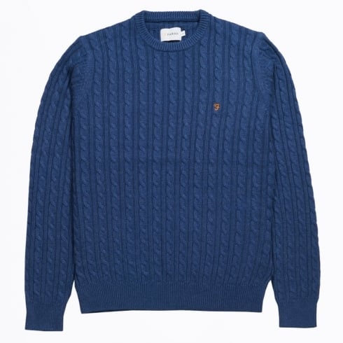 Farah Vintage - The Lewes Crew Cable Sweater - Blue