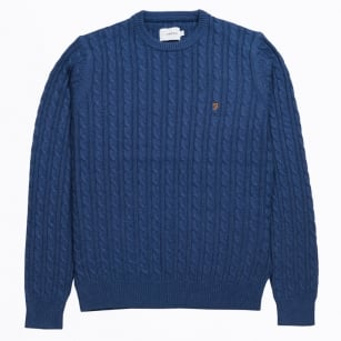 - The Lewes Crew Cable Sweater - Blue