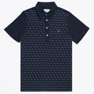 | The Oakdale Short Sleeve Jacquard Polo Shirt - Navy