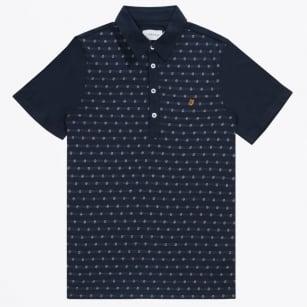   The Oakdale Short Sleeve Jacquard Polo Shirt - Navy