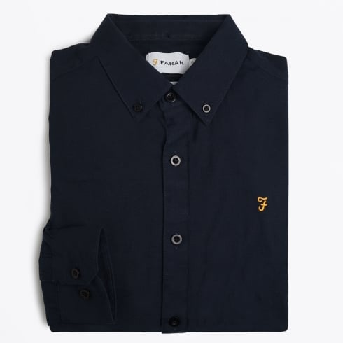 Farah Vintage - The Stockton Slim Print Shirt - Navy