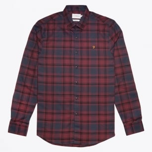 - Waithe Slim Check Shirt - Red