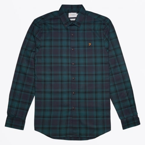 Farah Vintage - Waithe Slim Check Shirt - True Navy