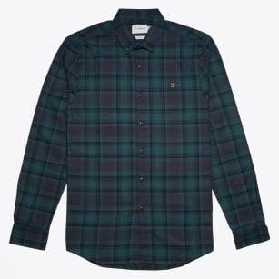 - Waithe Slim Check Shirt - True Navy
