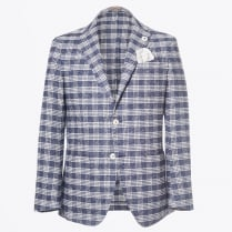 - Nick Denim Big Check Blazer - Navy