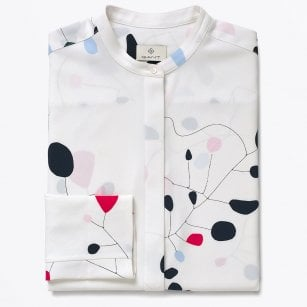 - Abstract Print Blouse - Eggshell
