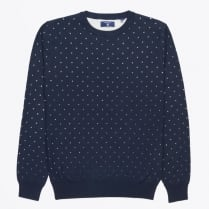 - Allover Dot Crewneck Jumper - Marine