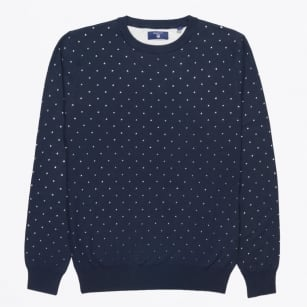 | Allover Dot Crewneck Jumper - Marine