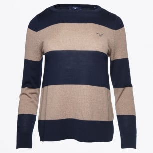 - Block Stripe Merino Jumper - Marine