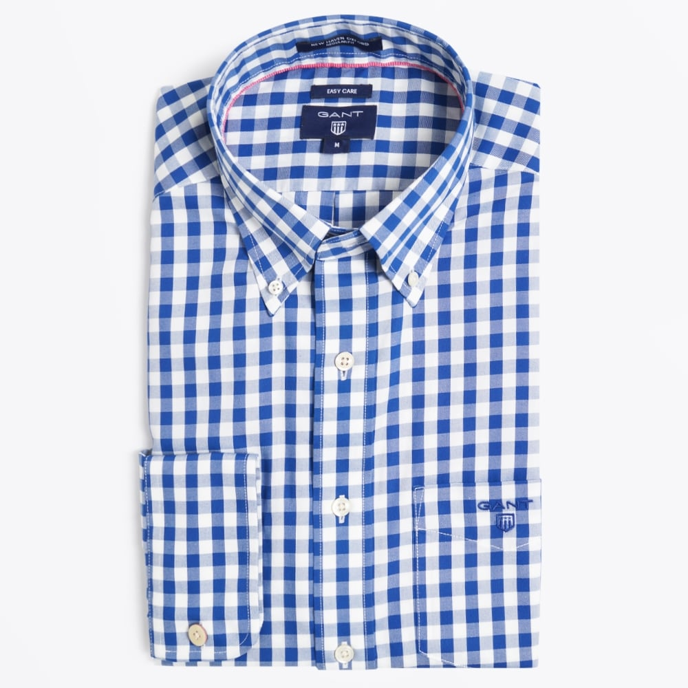 2895600243 Bold Gingham Oxford Shirt - Blue | Casual Shirts For Men | Gant