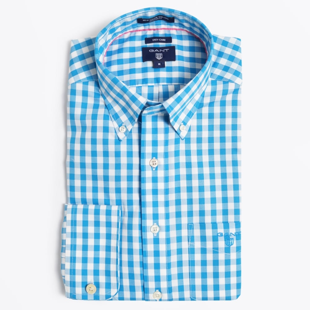 Bold gingham oxford shirt regular casual shirts for for Mens blue gingham shirt