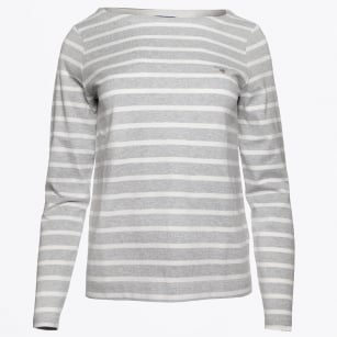 | Breton Stripe Boatneck Sweater - Light Grey