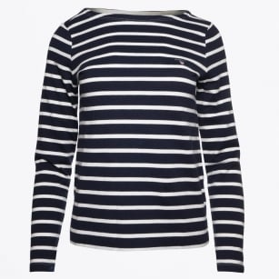 | Breton Stripe Boatneck Sweater - Marine