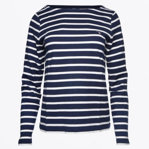 Gant - Breton Striped Boatneck Jumper - Evening Blue