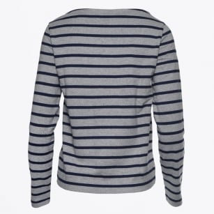 - Breton Striped Boatneck Jumper - Grey Melange