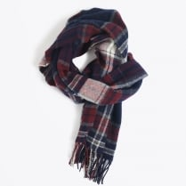 - Checked Lambswool Scarf - Purple Fig