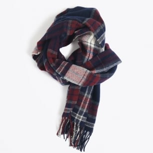 | Checked Lambswool Scarf - Purple Fig
