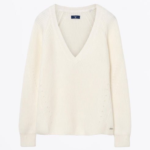 Gant - Chunky Ribbed V-Neck Sweater - Eggshell