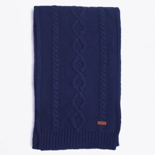 | Classic Cable Knit Scarf - Marine