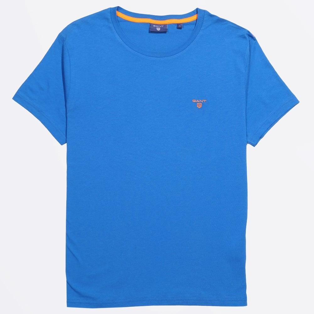Contrast logo crew t shirt blue gant t shirts mens for Ocean blue t shirt
