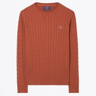 - Cotton Cable Crew Jumper - Rust Melange