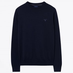 - Cotton Crew Neck Sweatshirt - Navy