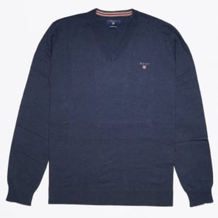 - Cotton Wool V Neck - Blue Melange