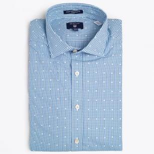 | Dobby Stripe Dot Fit Spread - Sage Blue
