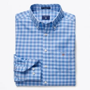 | Easy Care Gingham Shirt - Nautical Blue