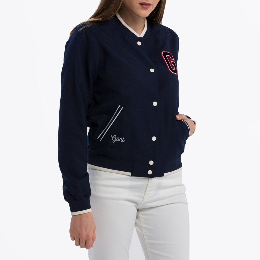 057b6d2168 Gant - Embroidered Varsity Jacket - Evening Blue - Mr & Mrs Stitch