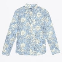 - Full Bloom Floral Shirt - Capri Blue