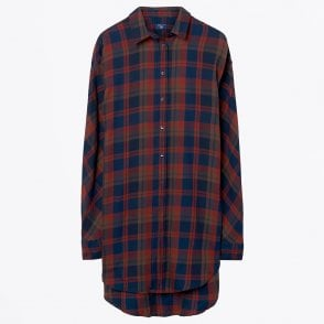 - Hygge Checked Shirt - Marine