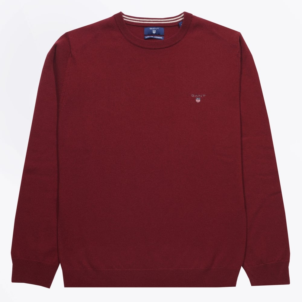detailed look fashionable and attractive package fashionable and attractive package Gant - Lambswool Crewneck Jumper - Burgundy