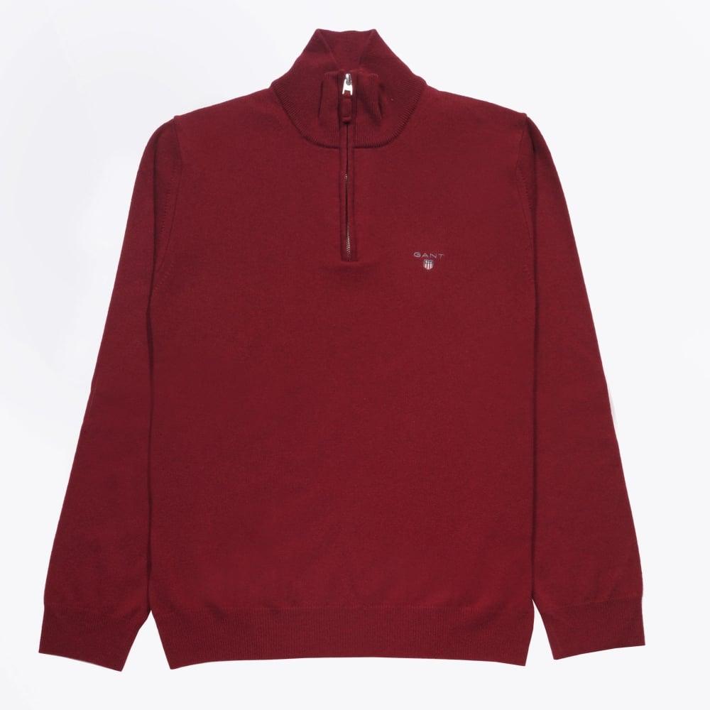 Clearance sale beautiful design terrific value Gant - Lambswool Half-Zip Jumper - Burgundy