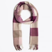 - Lambswool Multicheck Scarf - Raspberry Purple