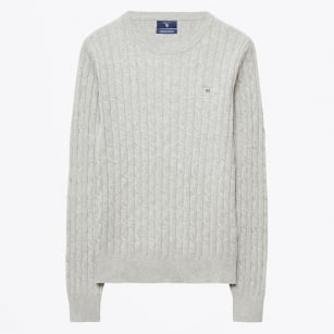 - Lambswool Stretch Cable Jumper - Grey