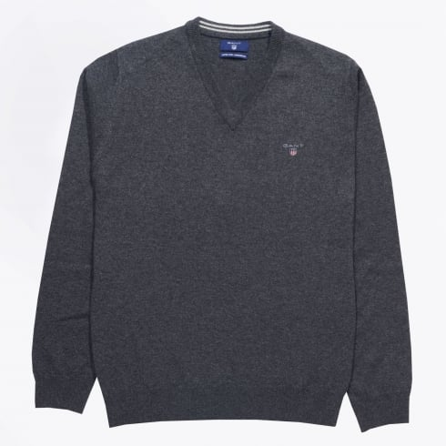 - Lambswool V-Neck Jumper - Anthracite