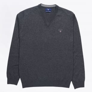 | Lambswool V-Neck Jumper - Anthracite